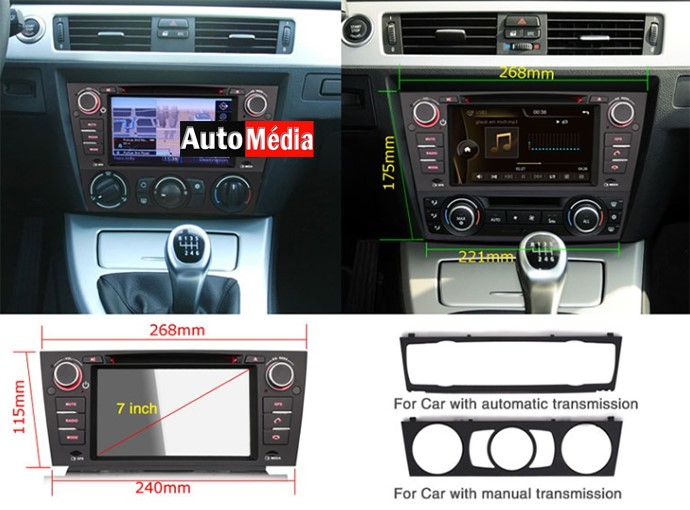autoradio gps dvd bluetooth pour bmw s rie 3 e90 auto media. Black Bedroom Furniture Sets. Home Design Ideas