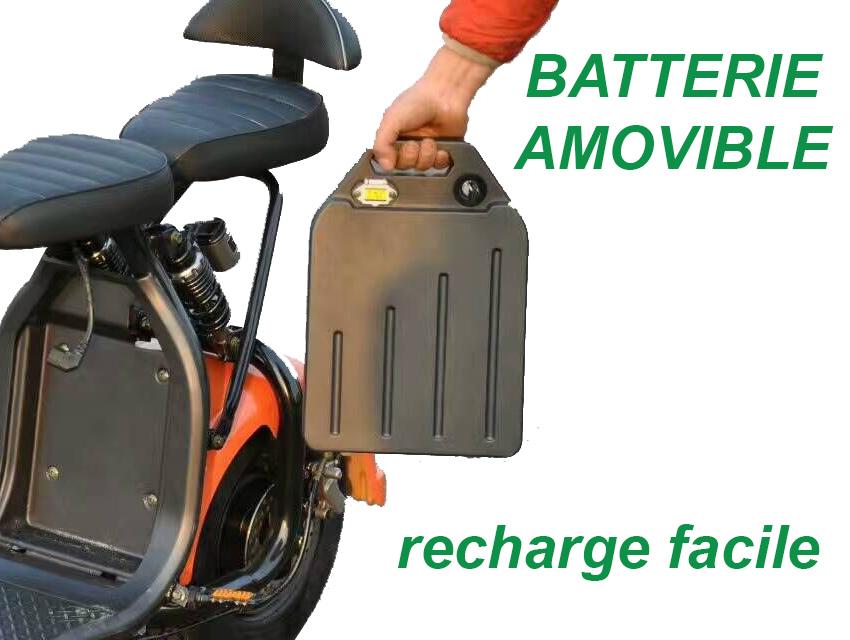 scooter lectrique batterie amovible facile recharge carte grise incluse. Black Bedroom Furniture Sets. Home Design Ideas